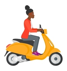 Woman riding scooter vector