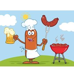 Chef Sausage Cartoon vector image