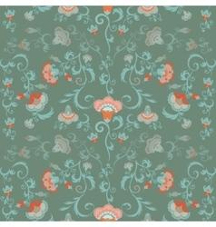 Oriental flowers pattern floral ornament in green vector