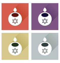 Concept of flat icons with long shadow jewish vector