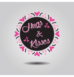 Hugs and kisses black circle emblem card vector