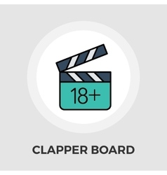 Adult movie clapper flat icon vector