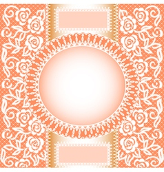 background with lace roses and a circle vector image vector image