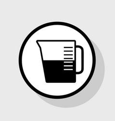 Beaker sign flat black icon in white vector