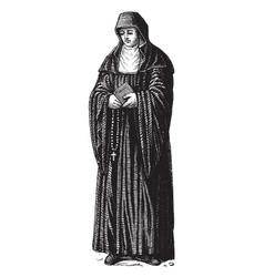 Benedictine nun vintage vector