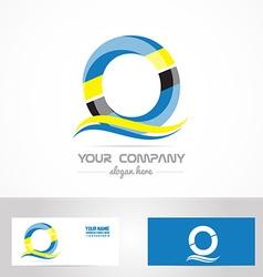 Blue yellow letter o logo vector image vector image
