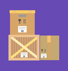 Cardboard and wooden boxes vector