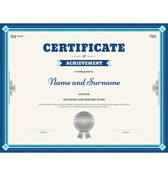 Certificate of achievement template blue vector