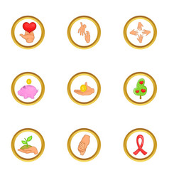 donate day icons set cartoon style vector image vector image