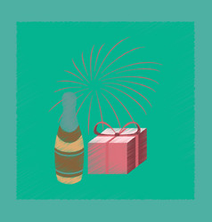 Flat shading style icon fireworks champagne gift vector