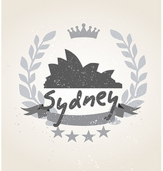 Grunge Sydney icon laurel weath vector image
