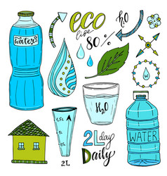 Hand drawn set of water and recycle icons healthy vector