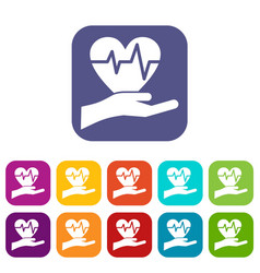 Hand holding heart with ecg line icons set vector
