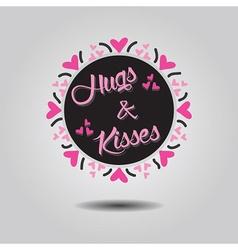 Hugs and kisses black circle emblem card vector