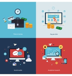 Icons for time is money pay per click online vector