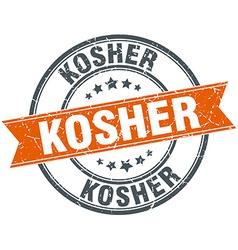 Kosher round orange grungy vintage isolated stamp vector