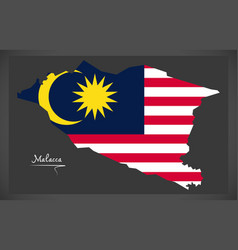 malacca malaysia map with malaysian national flag vector image vector image