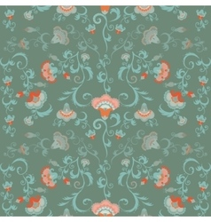 Oriental flowers pattern floral ornament in green vector image vector image