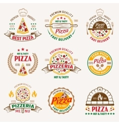 Pizzeria colored emblems vector