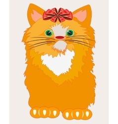 Redhead cat with bow vector image vector image