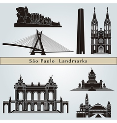 Sao paulo landmarks and monuments vector