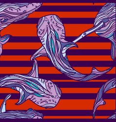 seamless pattern with whales and red stripes vector image vector image