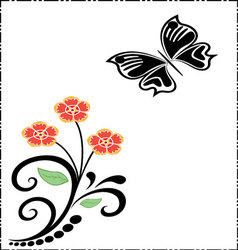 silhouettes of butterfly and flowers vector image