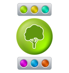 Tree on green button vector image vector image