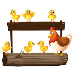 wooden sign with hen and little chicks vector image