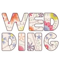 word wedding painted vintage vector image vector image