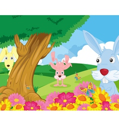rabbits in park vector image