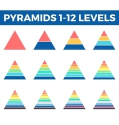 Pyramids triangles with 1 - 12 steps levels vector image