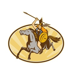 Valkyrie amazon warrior horse rider vector