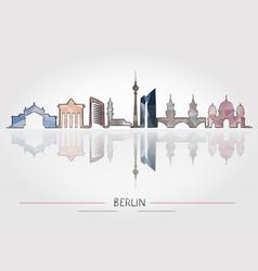 Berlin skyline detailed silhouette vector