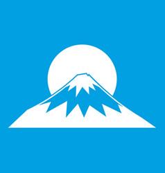 Sun and mountain icon white vector