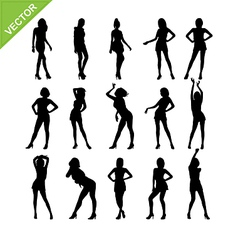 Sexy women and model posing silhouettes vector