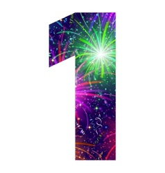 Number of colorful firework one vector