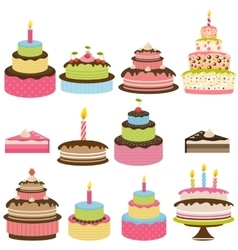 Set of colorful birthday cakes vector