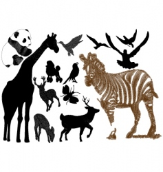 Embroidery animal collection vector