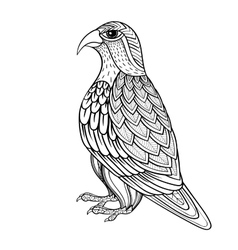 Zentangle falcon bird hawk of prey vector