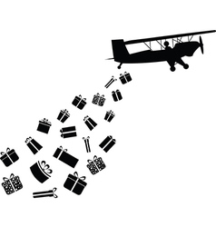 Plane throwing gifts vector