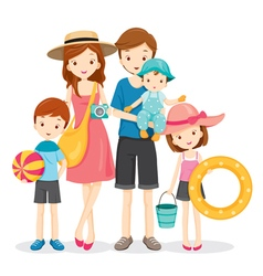 Happy Family With Summer Trip vector image