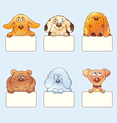Funny dogs holding blank boards vector