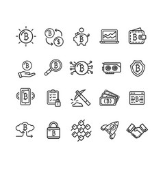 bitcoin currency signs black thin line icon set vector image