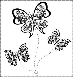 Black butterflies vector
