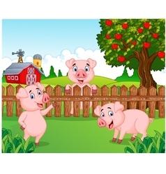 Cartoon adorable baby pig on the farm vector image vector image