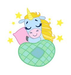 cartoon light blue lovely sleeping unicorn vector image vector image