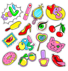 Comic colorful patches collection vector