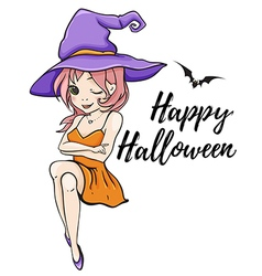Cute young witch vector