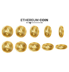 ethereum coin 3d gold coins set realistic vector image